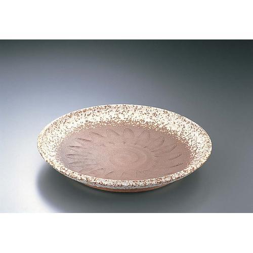 手造赤土白吹12.0大皿 平 B03-20 ビュッフェ用大皿(和食器)