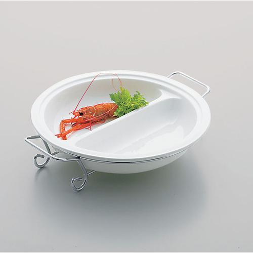 タント 2仕切ラウンドプラターフレーム付 41cm TA1745-H ビュッフェ用大皿(洋食器)