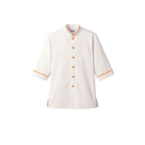 ショップコート D-1132(O白×黄) L コート(白衣)