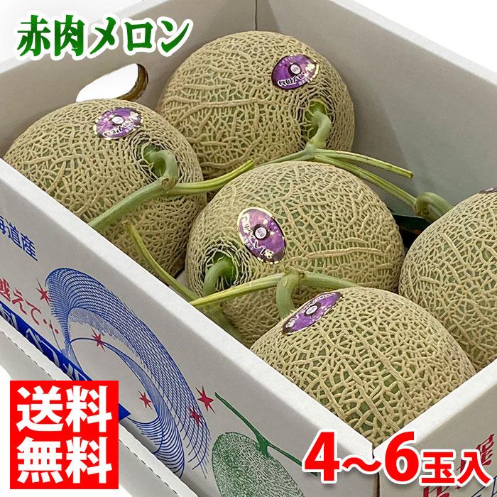 送料無料 北海道産 赤肉メロン 箱 8kg 推奨 4玉~6玉入 値下げ