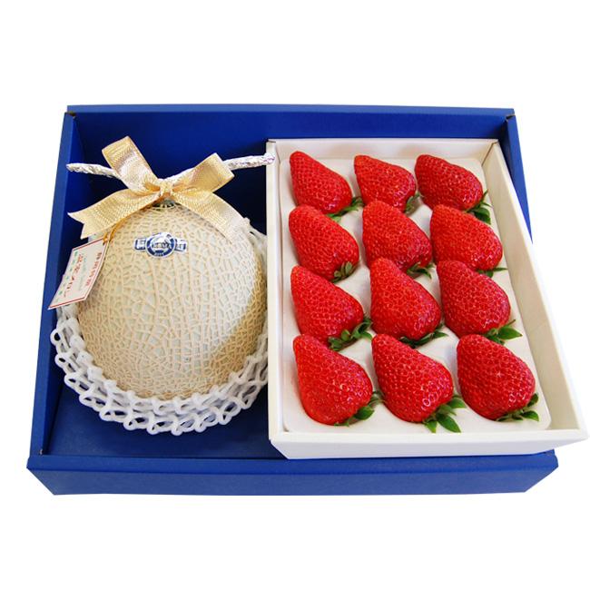 静岡クラウンメロン【白等級】と特大紅ほっぺいちごセット