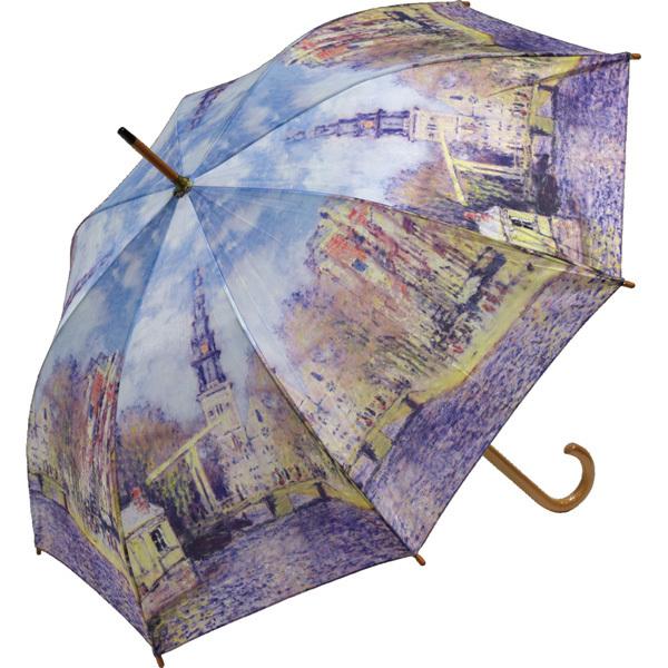 修善寺 虹の郷で大好評 絵画が描かれた 素敵な傘 モネ 水辺の教会 名画木製ジャンプ傘 激安 (訳ありセール 格安)