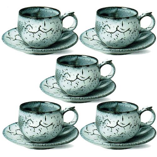 【コーヒーがおいしくなる コーヒーカップ 】信楽焼 コーヒーカップ 蒼雲 5客セット コーヒー碗皿 出産祝い 誕生日 引き出物 結婚祝い 記念品 開店祝い 開業祝い 退職祝い 新築祝い 内祝い 敬老の日 信楽焼 母の日 記念日 プレゼント ギフト 贈り物【信楽焼】