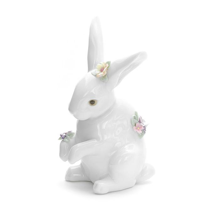 リヤドロ LLADRO 花飾りの白うさぎ4 1006100 SITTING BUNNY WITH FLOWERS ポーセリン 陶器 【ラッキーシール対応】