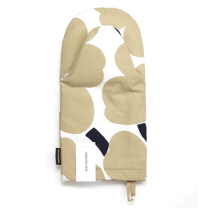 メール便なら送料無料 マリメッコ marimekko ピエニウニッコ オーブンミトン オフホワイト×ベージュ×ダークブルー 069908 鍋つかみ Unikko Pieni 限定モデル フラワー 売り込み 花柄 185 Mitten
