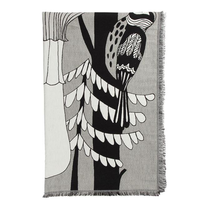 マリメッコ marimekko ヴェルイェクセトゥ ブランケット (ホワイト×ブラック) Veljekset blanket 068701 191 マフラー ストール アニマル 動物