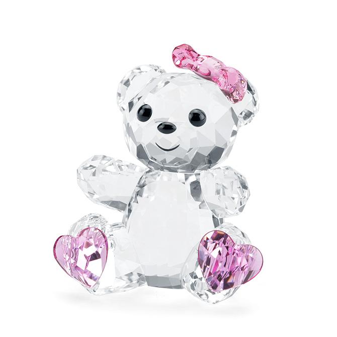 スワロフスキー SWAROVSKI フィギュリン クリスベア スウィートハート 3.2 x 3.4 x 2.5 cm (クリア×ピンク) 5301571 Sweet Heart クマ