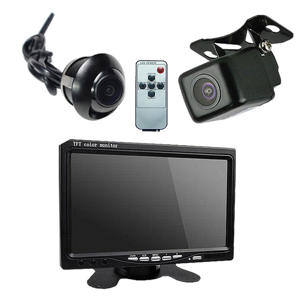 7インチモニター+サイド/バックカメラ 3点セット 12V 車用HD CCD サイドカメラ ガイドライン ドライバー 補助 カー用品 ◇ALW-TRISET-PRO2   モニター セット バックモニター カメラセット リアカメラ バック カメラ バックモニターカメラセット 車載モニター