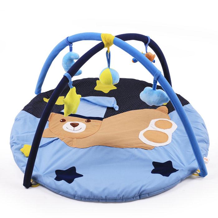 ベビージム プレイマット 布製 ふわふわ 赤ちゃん おもちゃ 知育 玩具 ベビー 室内遊具 男女兼用 指遊び メリー くま 星 ブルー ◇ALW-BB-LY1