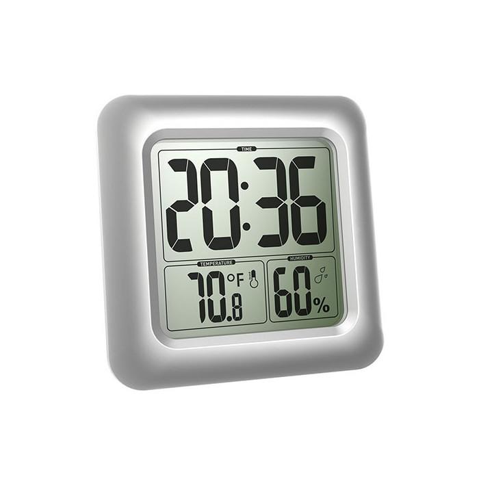お風呂やキッチンなど水滴のかかる水回り周辺で大活躍する時計です。 バスルームクロック デジタル 防滴時計 温度湿度計 シャワー時計 吸盤 壁掛け 置き時計 お風呂 温度計 湿度計 【並行輸入品】 ◇ALW-CL0006SI1|時計 デジタル時計 おふろ バスクロック シャワークロック 置時計 デジタル置時計 デジタル温湿度計 便利グッズ バスタイム