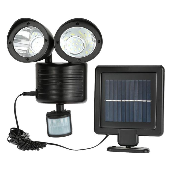 ソーラーパネル搭載で電源のない場所でも明るく照らせる人感センサーライト。2灯式でそれぞれの場所を照らします。 ソーラー充電式 人感センサー LEDライト 2灯式 ツインヘッド ガーデンライト 屋外用 防犯グッズ ◇ALW-ZY-4002 | ライト LED ledソーラーライト センサーライト センサー ledセンサーライト 人感センサーライト ガーデン 人感 庭 屋外 ソーラー充電 ソーラーライト