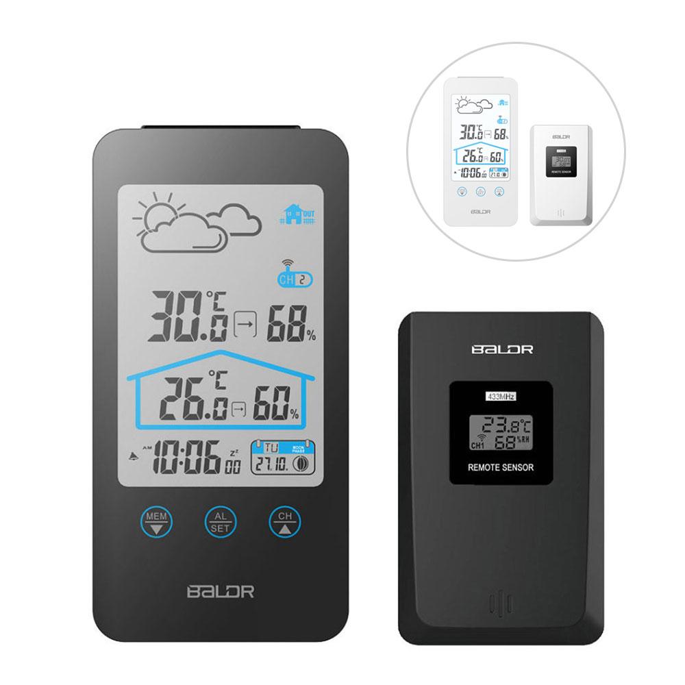 お買い得品 室内外の温度 湿度がひと目で分かる 置き時計 掛け時計どちらでも使用可能 置き掛け兼用 多機能 温湿度計 時計 室内 室外 屋外 ワイヤレス デジタル 温度計 ワイヤレス温度計 温湿計 湿度計 デジタル温度計 日付表示 アラーム 並行輸入品 天気予報 デジタル時計 掛け時計 4年保証 クロック デジタル湿度計 ALW-WS0201BL1 スヌーズ