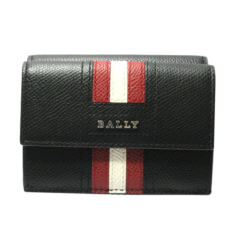 バリー 財布 BALLY コンパクト財布 三つ折り財布/小銭入れ付 TEIR.LT 6229027 BLACK 【送料無料】【あす楽】【はこぽす対応商品】