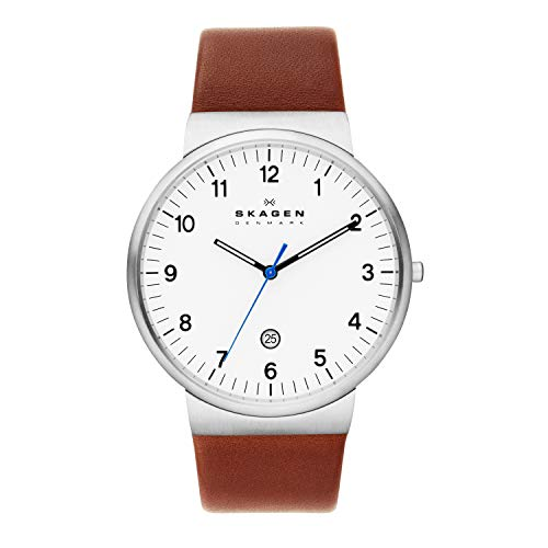 スカーゲン 腕時計 メンズ SKW6082 Skagen Men's Ancher Quartz Stainless Steel and Leather Watch Color: Silver, Brown (Model: SKW6082)スカーゲン 腕時計 メンズ SKW6082