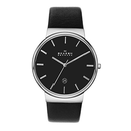 スカーゲン 腕時計 メンズ SKW6104 【送料無料】Skagen Men's Ancher Stainless Steel Quartz Watch with Leather Strap, Black, 22 (Model: SKW6104)スカーゲン 腕時計 メンズ SKW6104