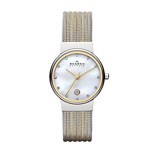 スカーゲン 腕時計 レディース 355SSGS Skagen Women's Ancher Quartz Two-Tone Stainless Steel Mesh Dress Watch, Color: Silver and Gold-Tone (Model: 355SSGS)スカーゲン 腕時計 レディース 355SSGS