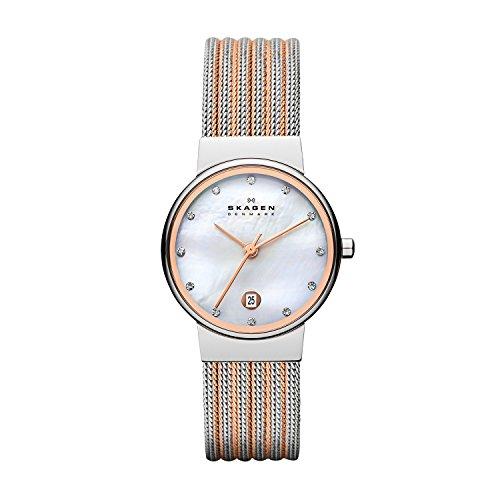 スカーゲン 腕時計 レディース 355SSRS 【送料無料】Skagen Women's Ancher Quartz Two-Tone Stainless Steel Mesh Dress Watch, Color: Silver and Rose Gold-Tone (Model: 355SSRS)スカーゲン 腕時計 レディース 355SSRS