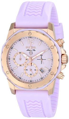 ブローバ 腕時計 レディース 98M118 【送料無料】Bulova Women's 98M118 Gold-Tone Stainless Steel Watch with Purple Rubber Bandブローバ 腕時計 レディース 98M118