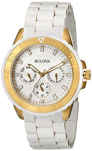 ブローバ 腕時計 レディース 98N102 【送料無料】Bulova Women's 98N102 White Rubber Wrapped Stainless-Steel Bracelet Watchブローバ 腕時計 レディース 98N102
