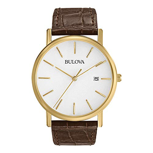 ブローバ 腕時計 メンズ 97B100 Bulova Men's 97B100 Classic Gold-Tone Stainless Steel Watch With Brown Leather Bandブローバ 腕時計 メンズ 97B100
