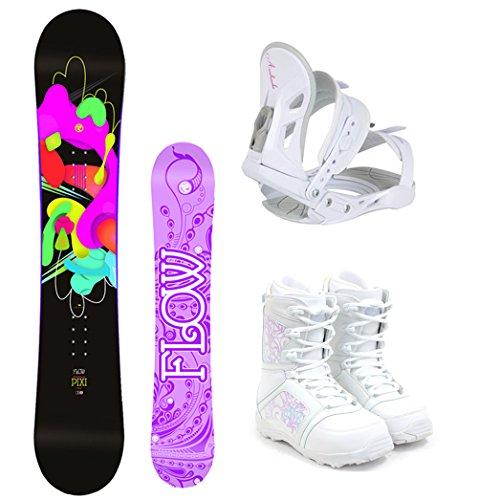 スノーボード ウィンタースポーツ フロウ 2017年モデル2018年モデル多数 Flow 2018 Pixi Women's Complete Snowboard Package Avalanche Bindings M3 Boots - Board Size 144 (Boot Size 8)スノーボード ウィンタースポーツ フロウ 2017年モデル2018年モデル多数