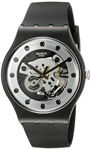 スウォッチ 腕時計 メンズ SUOZ147 【送料無料】Swatch Unisex SUOZ147 Silver Glam Analog Display Quartz Black Watchスウォッチ 腕時計 メンズ SUOZ147