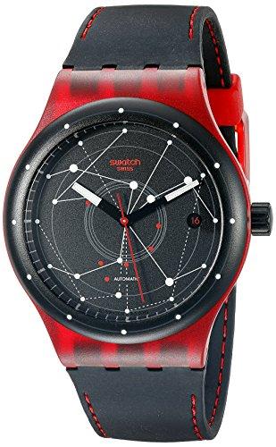 スウォッチ 腕時計 メンズ SUTR400 Swatch Unisex SUTR400 Sistem Red Analog Display Automatic Self Wind Black Watchスウォッチ 腕時計 メンズ SUTR400