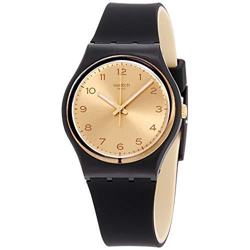 スウォッチ 腕時計 レディース 夏の腕時計特集 4331800367 【送料無料】Swatch Originals Gold Dial Black-Tone Plastic Rubber Quartz Ladies Watch GB288スウォッチ 腕時計 レディース 夏の腕時計特集 4331800367