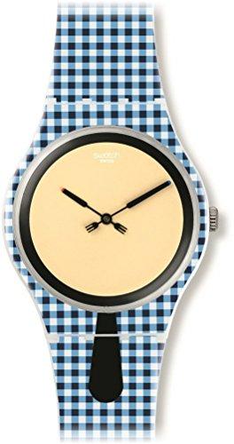 スウォッチ 腕時計 メンズ SUOW118 【送料無料】Swatch Moitie Moitie Yellow Dial Blue and White Check Silicone Mens Watch SUOW118スウォッチ 腕時計 メンズ SUOW118