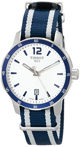 """ティソ 腕時計 メンズ T0954101703701 【送料無料】Tissot Men""""s Quickster Stainless Steel Quartz Watch with Nylon Strap, White, 18 (Model: T0954101703701)ティソ 腕時計 メンズ T0954101703701"""