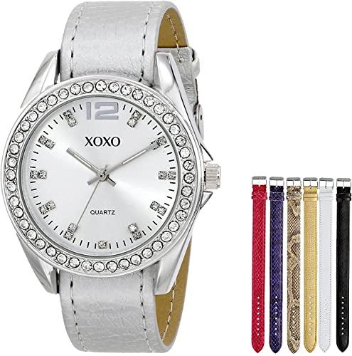 クスクス キスキス 腕時計 レディース XO9062 【送料無料】XOXO Women's XO9062 Silver-Tone Watch with Interchangeable Bandsクスクス キスキス 腕時計 レディース XO9062