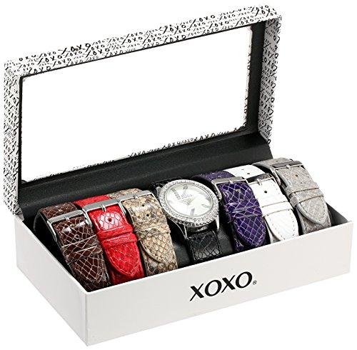 クスクス キスキス 腕時計 レディース XO9042 【送料無料】XOXO Women's XO9042 Seven Color Snake-Embossed Interchangeable Strap Set Watchクスクス キスキス 腕時計 レディース XO9042