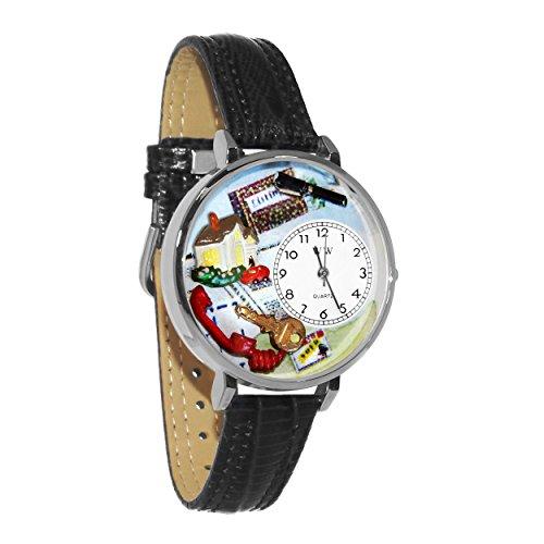 気まぐれな腕時計 かわいい プレゼント クリスマス ユニセックス 【送料無料】Realtor Black Skin Leather and Silvertone Watch #WG-U0610006気まぐれな腕時計 かわいい プレゼント クリスマス ユニセックス