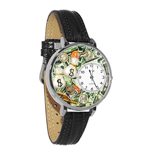 気まぐれな腕時計 かわいい プレゼント クリスマス ユニセックス 【送料無料】Banker Black Leather and Silvertone Watch #WG-U0610031気まぐれな腕時計 かわいい プレゼント クリスマス ユニセックス