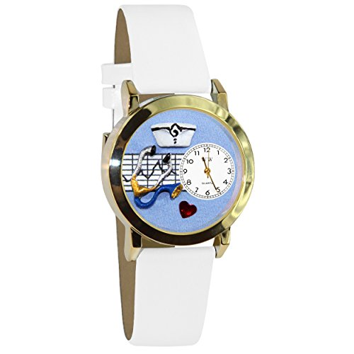 気まぐれな腕時計 かわいい プレゼント クリスマス ユニセックス C0610002 【送料無料】Whimsical Watches Women's C0610002 Classic Gold Nurse Blue White Leather And Goldtone Watch気まぐれな腕時計 かわいい プレゼント クリスマス ユニセックス C0610002