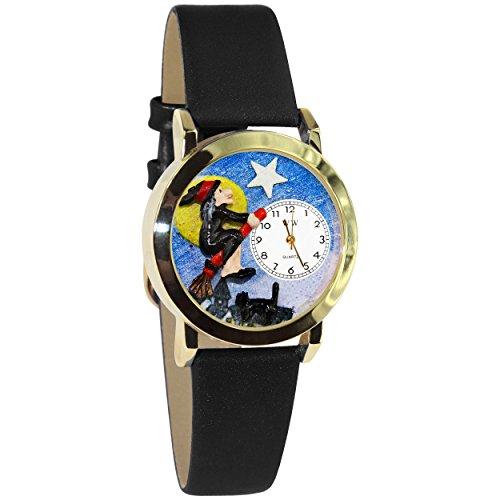気まぐれな腕時計 かわいい プレゼント クリスマス ユニセックス 【送料無料】Halloween Flying Witch Watch Small Gold Style気まぐれな腕時計 かわいい プレゼント クリスマス ユニセックス