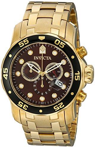 インヴィクタ インビクタ プロダイバー 腕時計 メンズ 80065 Invicta Mens Pro Diver Scuba Swiss Chronograph Brown Dial 18k Gold Plated Bracelet Watch 80065インヴィクタ インビクタ プロダイバー 腕時計 メンズ 80065