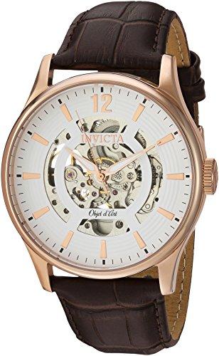 インヴィクタ インビクタ 腕時計 メンズ 22596 Invicta Men's Objet D Art Stainless Steel Automatic-self-Wind Watch with Leather-Calfskin Strap, Brown, 24 (Model: 22596)インヴィクタ インビクタ 腕時計 メンズ 22596