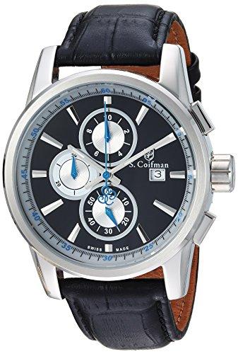 インヴィクタ インビクタ 腕時計 メンズ SC0251 【送料無料】S. Coifman Men's Heritage Stainless Steel Quartz Watch with Leather Calfskin Strap, Black, 22 (Model: SC0251)インヴィクタ インビクタ 腕時計 メンズ SC0251