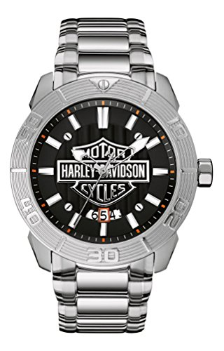 ブローバ 腕時計 メンズ 76B169 Harley-Davidson Men's Bulova Watch, Embossed Bar & Shield Stainless Steel 76B169ブローバ 腕時計 メンズ 76B169