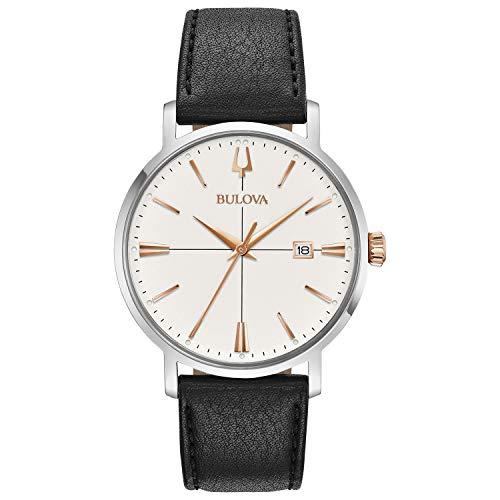 ブローバ 腕時計 メンズ 98B254 【送料無料】Bulova mens 98B254 20mm Leather Calfskin Black Watch Braceletブローバ 腕時計 メンズ 98B254