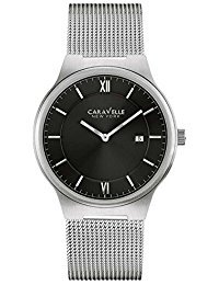 ブローバ 腕時計 メンズ 43B145 Caravelle New York 43B145 Black Dial Stainless Steel Mesh Bracelet Watchブローバ 腕時計 メンズ 43B145