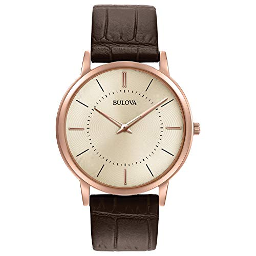 ブローバ 腕時計 メンズ 97A126 Bulova Men's Stainless Steel Analog-Quartz Watch with Leather Strap, Brown, 0.78 (Model: 97A126)ブローバ 腕時計 メンズ 97A126