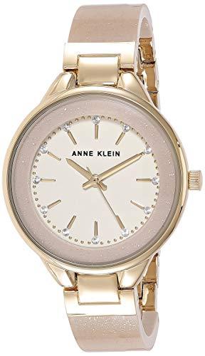 腕時計 アンクライン レディース AK/1408CRCR 【送料無料】Anne Klein Women's AK/1408CRCR Swarovski Crystal Accented Cream Bangle Watch腕時計 アンクライン レディース AK/1408CRCR