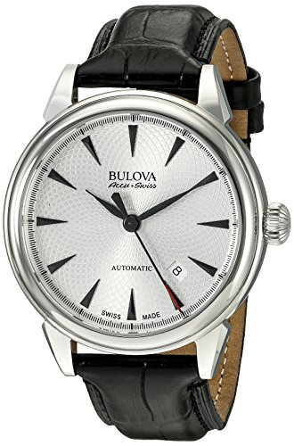ブローバ 腕時計 メンズ 63B173 【送料無料】Bulova Men's 'Gemini' Swiss Automatic Stainless Steel and Black Leather Casual Watch (Model: 63B173)ブローバ 腕時計 メンズ 63B173