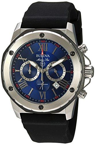 ブローバ 腕時計 メンズ 98B258 Bulova Men's (98B258) Marine Star Chronograph Stainless Steel and Silicone Casual Watch, Quartz Movement, Blackブローバ 腕時計 メンズ 98B258