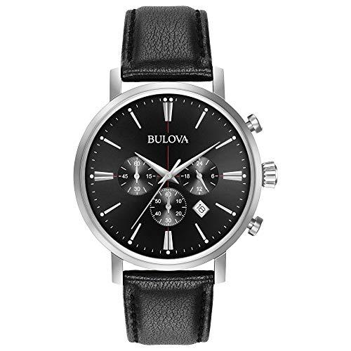 ブローバ 腕時計 メンズ 96B262 【送料無料】Bulova Men's Stainless Steel Analog-Quartz Watch with Leather Strap, Black, 20 (Model: 96B262)ブローバ 腕時計 メンズ 96B262