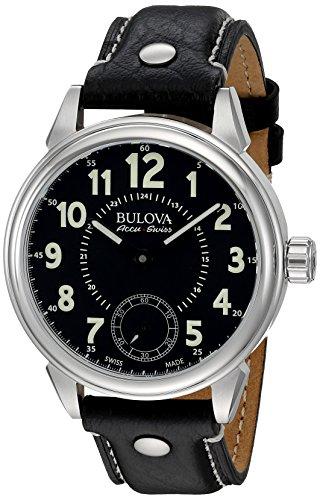 ブローバ 腕時計 メンズ 63A120 Bulova Men's 'Gemini' Mechanical Hand Wind Stainless Steel and Black Leather Casual Watch (Model: 63A120)ブローバ 腕時計 メンズ 63A120