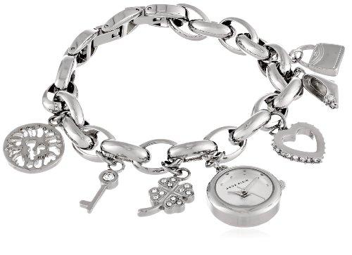 アンクライン 腕時計 レディース 10/7605CHRM 【送料無料】Anne Klein Women's 10-7605CHRM Swarovski Crystal Silver-Tone Charm Bracelet Watchアンクライン 腕時計 レディース 10/7605CHRM