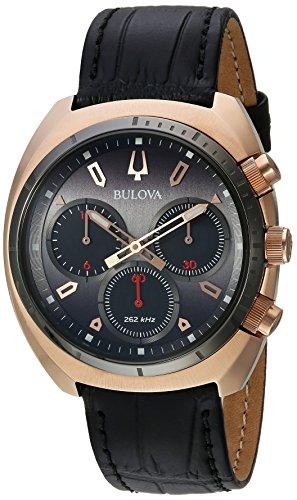 ブローバ 腕時計 メンズ 98A156 Bulova Men's Curv Collection' Quartz Stainless Steel and Leather Casual Watch, Color:Black (Model: 98A156)ブローバ 腕時計 メンズ 98A156